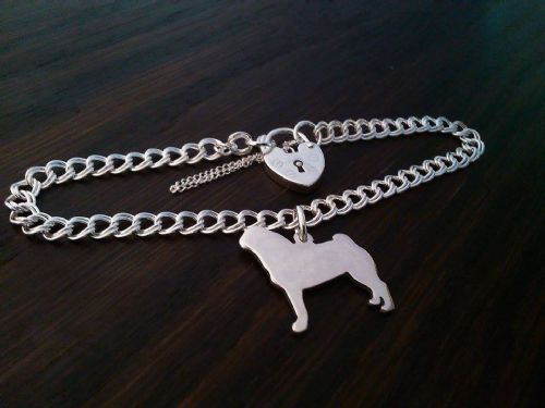 Pug charm on a z curb bracelet solid sterling silver (1)